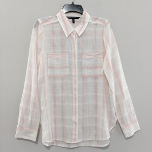WHBM Pink Striped Button Up Shirt Size 8